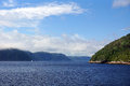Saguenay waters beautiful and mountains of the fjord quebec canada Royalty Free Stock Photo