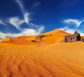 Sahara desert algeria sand dunes and rocks Royalty Free Stock Photos