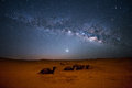 Sahara milky way moving in the night sky over the desert morocco Royalty Free Stock Photos
