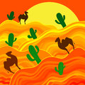 Sahara orange background with camels Royalty Free Stock Photo