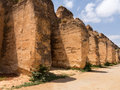 Sahrij swami and stables in meknes ruins morocco with ancient underneath ruined battlements Stock Image