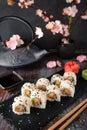 Sai Roll with salmon, avocado, cucumber. Sushi menu.