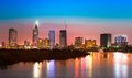 Saigon skyline with river after sunset, Vietnam Royalty Free Stock Photo