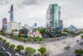 SAIGON, VIETNAM - MAY 27, 2016 - Nguyen Hue street walking with many luxurious commercial centers and modern office buildings. it Royalty Free Stock Photo