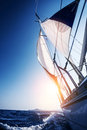 Sail boat in action summer adventure luxury water transport sunset light active lifestyle recreation the sea travel and tourism Stock Photography