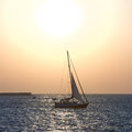 Sail boat against sea sunset colorful marine landscape Stock Image