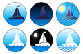 Sail boat icon set Royalty Free Stock Photos