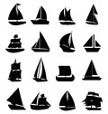 Sail boat icons set Royalty Free Stock Photo