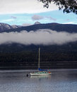 Sail boat at lake te anau on new zealand Stock Photo