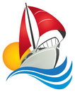 Sail Boat Logo Royalty Free Stock Photo