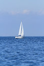 Sail boat one small white at adriatic sea Royalty Free Stock Photos