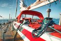 Sail boat at sea winch with rope on sailing in the in early morning Stock Images