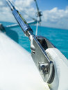 Sail boat stainless steal attachment cable Royalty Free Stock Photo