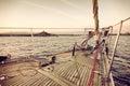 Sail boat at sunset Royalty Free Stock Photo