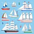 Sail boat. Transportation sailboat for water sailboat race. Flat luxury sailing vector illustration set