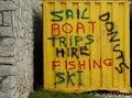 Sail, boat, trips, hire, fishing, ski, donuts Stock Photo
