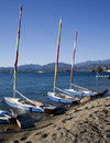 Sail boats on beach Stock Photos
