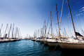 Sail boats lots of moored in harbour Stock Photography