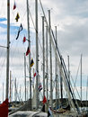 Sail boats poles Stock Images