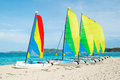 Sail boats on tropical beach with colorful sails catamarans Stock Image