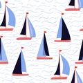 Sail boats and waves vector repeat nautical print