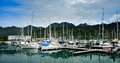 Sail boats and yachts at quay telaga harbour langkawi malaysia Stock Images