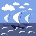 Sail the high seas ships in a stormy sea. Vector illustration