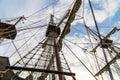 Sail rigging on an old sailing ship Royalty Free Stock Photo