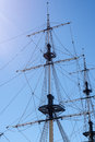 Sail ship mast of the boat on the blue sky background with sunlight Royalty Free Stock Photography