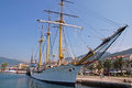Sail ship at the pier in tivat montenegro july old is moored Royalty Free Stock Photos