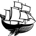 Sail whale woodcut style propelled baleen Royalty Free Stock Photos