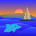 Sail Yacht Boat On See Vector Illustration
