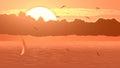Sailboat against orange sunset. Royalty Free Stock Photo
