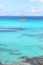 Sailboat at anchor in the mediterranean sea formentera spain Stock Photo