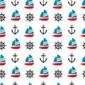 Sailboat, anchor and ship steer seamless pattern. Royalty Free Stock Photo