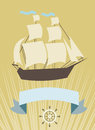 Sailboat with banner for your message card the ship and a text eps Royalty Free Stock Photos