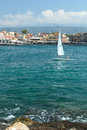Sailboat in chania with child crete Stock Photography