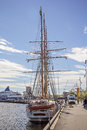 Sailboat docked outside Oslo, Norway Royalty Free Stock Photo