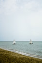 Sailboat the the enjoy activity in summer Royalty Free Stock Photo