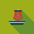 Sailboat flat icon with long shadow cartoon vector illustration Stock Images