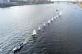 Sailboat floating on the river volga tver russia oct after olympic torch relay october Stock Image