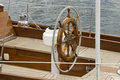 Sailboat helm old wooden detail Royalty Free Stock Photos