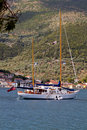 Sailboat at Ithaki island of Greece Royalty Free Stock Image