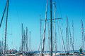 Sailboat masts in harbor against blue sky Royalty Free Stock Photo
