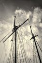 Sailboat masts low angle take of and rigging Stock Images