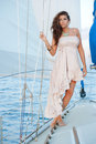 Sailboat model a beautiful hispanic female posing on a on lake michigan Stock Photography