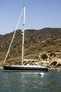 Sailboat moored at catalina harbor santa island in the quiet bay of Royalty Free Stock Photos