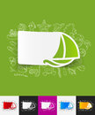 Sailboat paper sticker with hand drawn elements Royalty Free Stock Photo