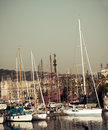 Sailboat in port vell in barcelona catalonia view of marina spain vintage retro style Stock Photography