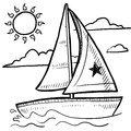 Sailboat regatta vector sketch Royalty Free Stock Image